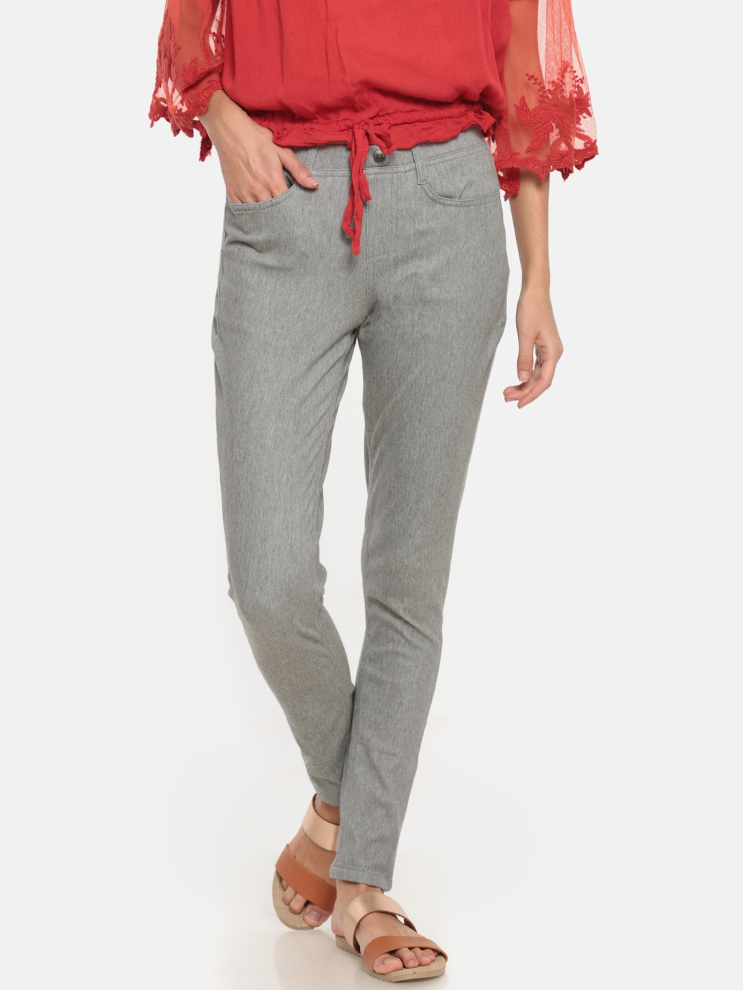 Go Colors Grey Solid Jeggings image