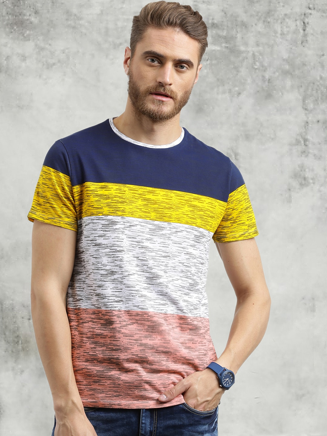 Buy Breakbounce Multicolored Colourblocked Round Neck Men's T-shirt At Best Price