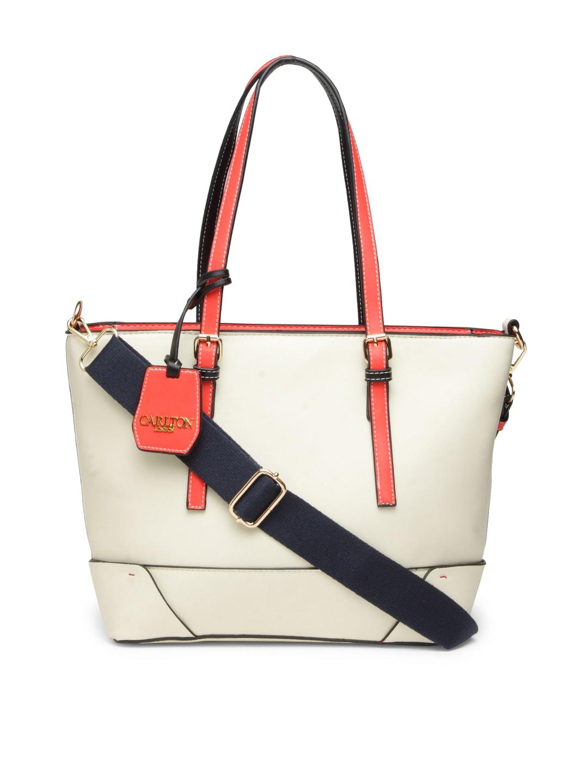 Carlton London Off-White Solid Shoulder Bag