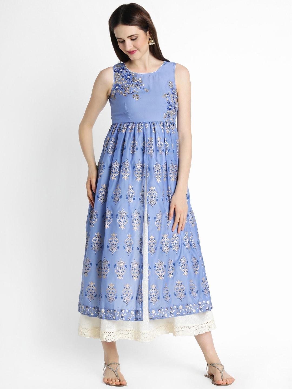TRISHAA BY PANTALOONS Women Blue Self-Design A-Line Kurta image