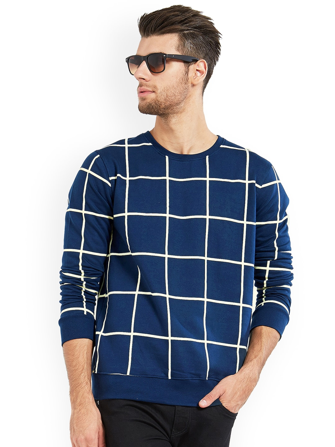 Buy Maniac Navy Blue Checked Round Neck Men T-shirt At Best Price