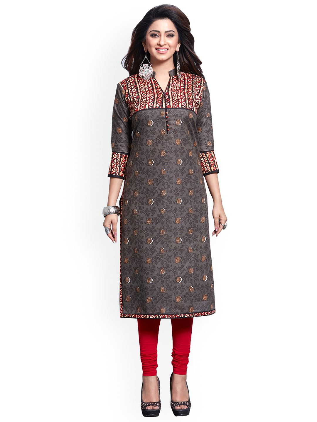 Ishin Grey Pure Cotton Unstitched Dress Material image