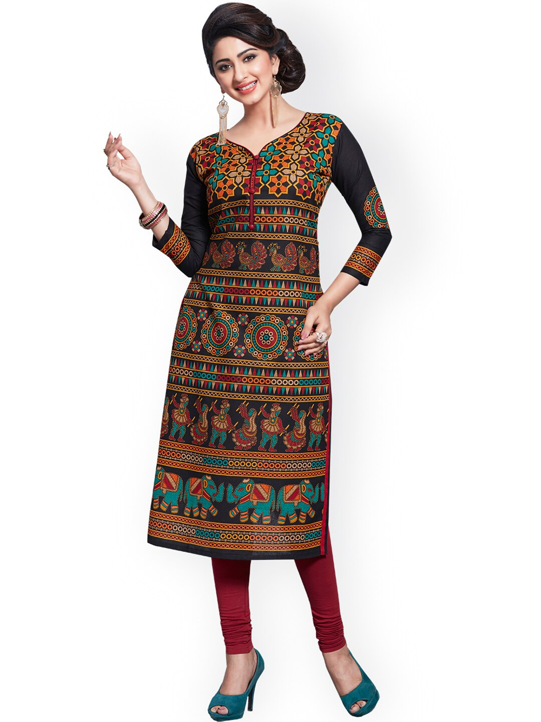 Ishin Multicoloured Pure Cotton Unstitched Dress Material image