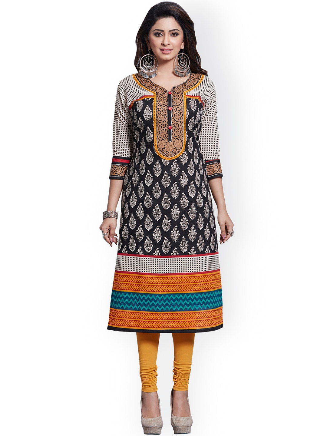 Ishin Black & Yellow Pure Cotton Unstitched Dress Material image