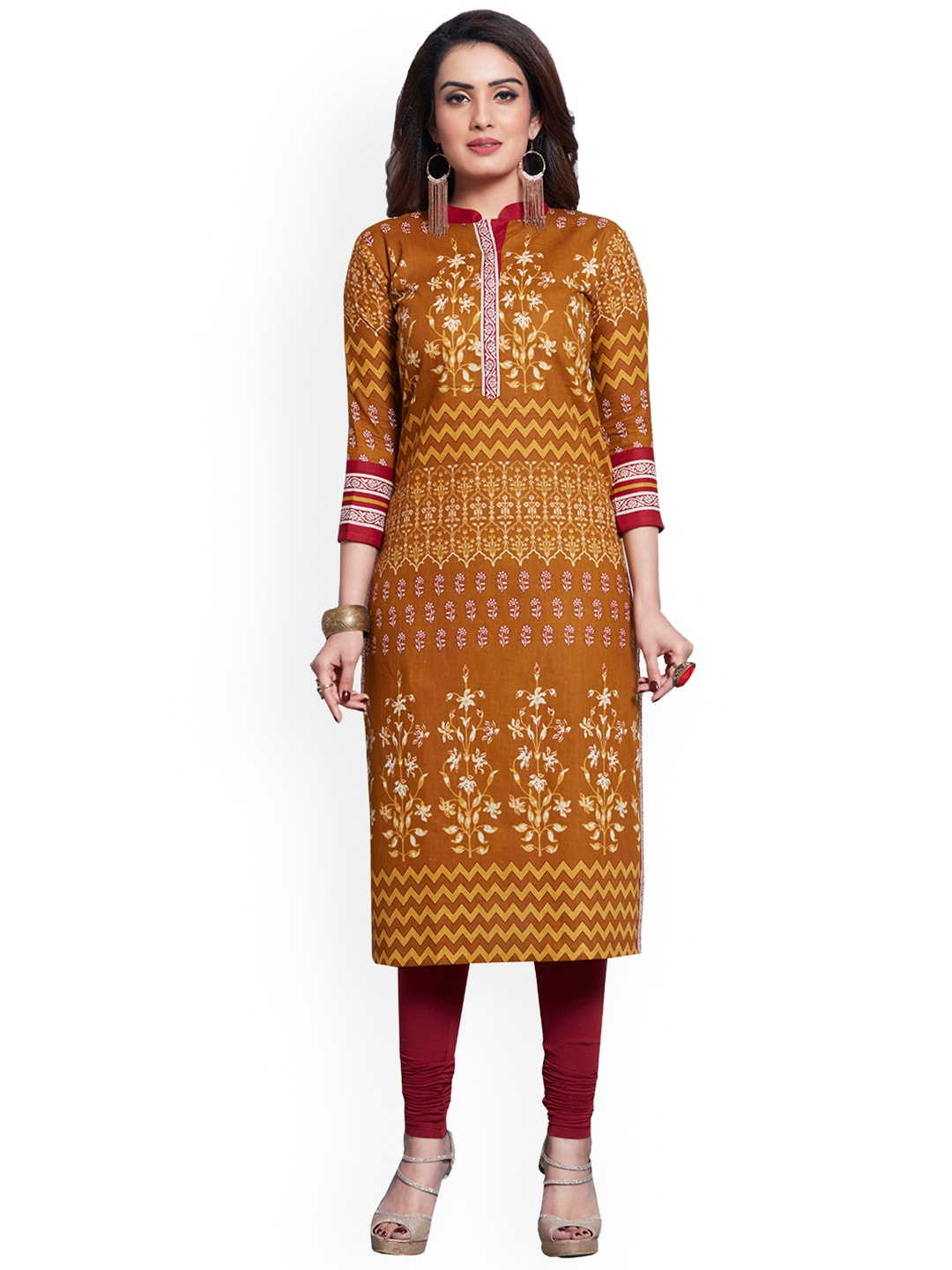 Ishin Mustard & White Pure Cotton Unstitched Dress Material image