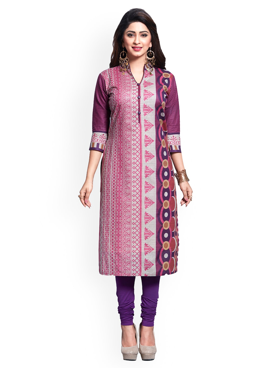 Ishin Purple & Grey Pure Cotton Unstitched Dress Material image