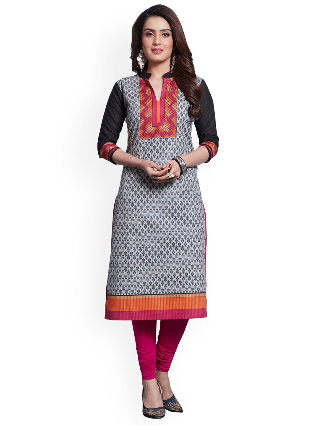 Ishin Grey & Black Pure Cotton Unstitched Dress Material image