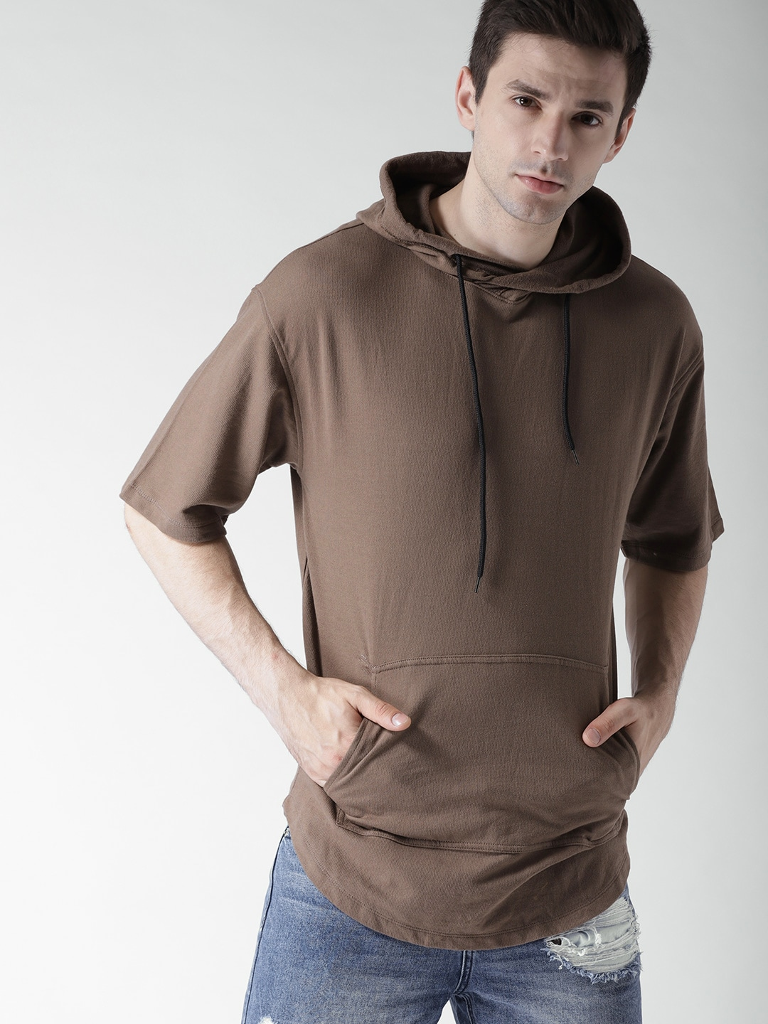 Buy FOREVER 21 Brown Solid Hooded Men's Sweatshirt At Best Price