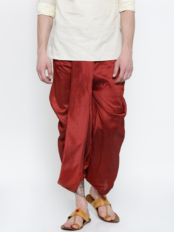 ROYAL KURTA Men Red Solid Dhoti image