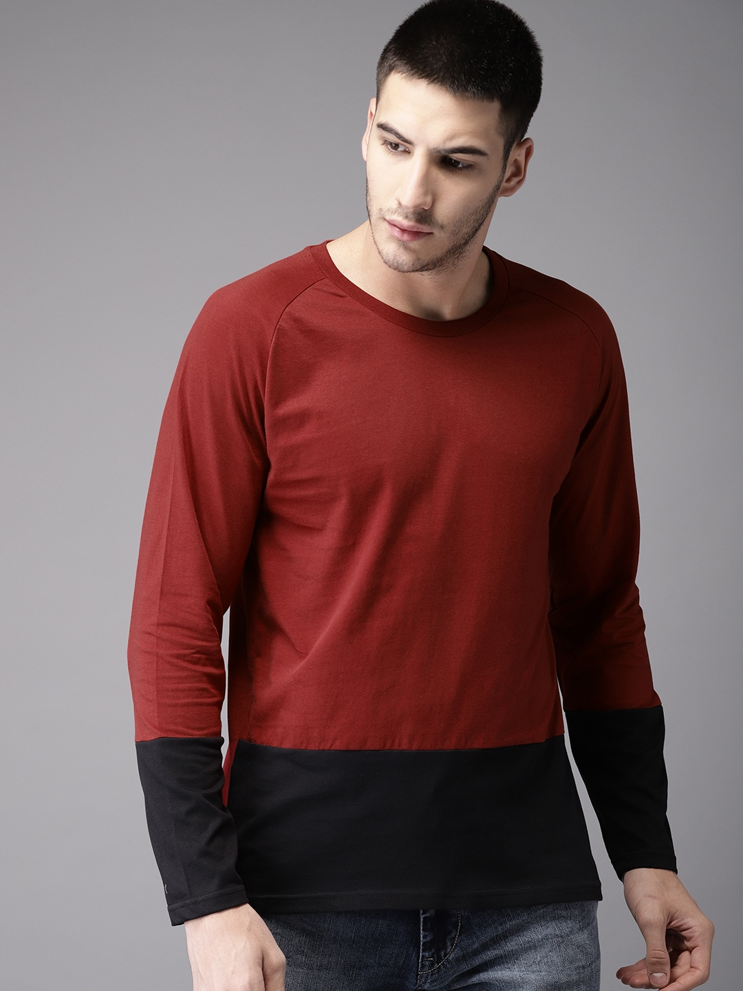 Buy HERE&NOW Maroon & Black Colour Round Neck Men's T-shirt At Best Price