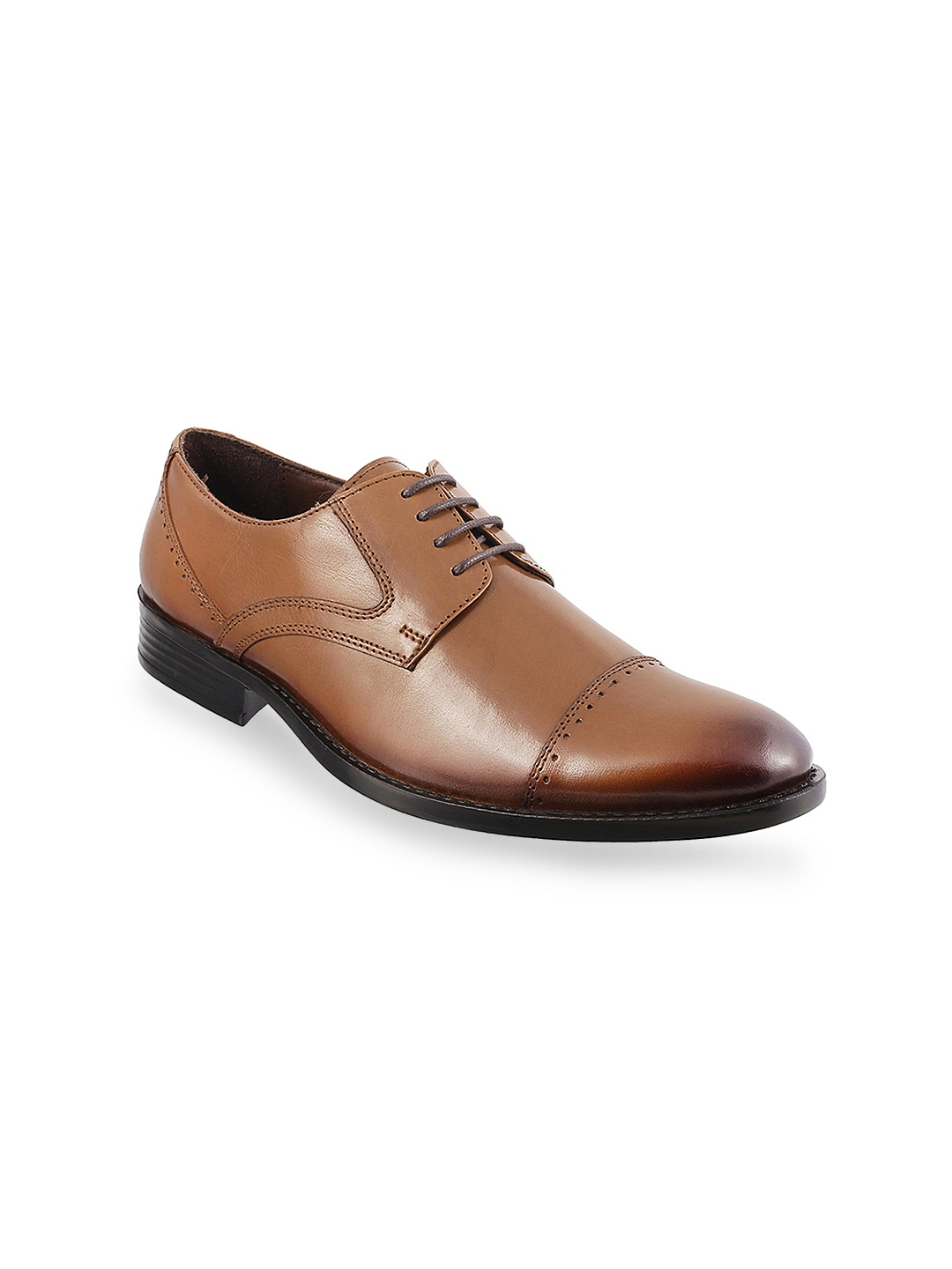 Metro Men Tan Brown Leather Brogues image