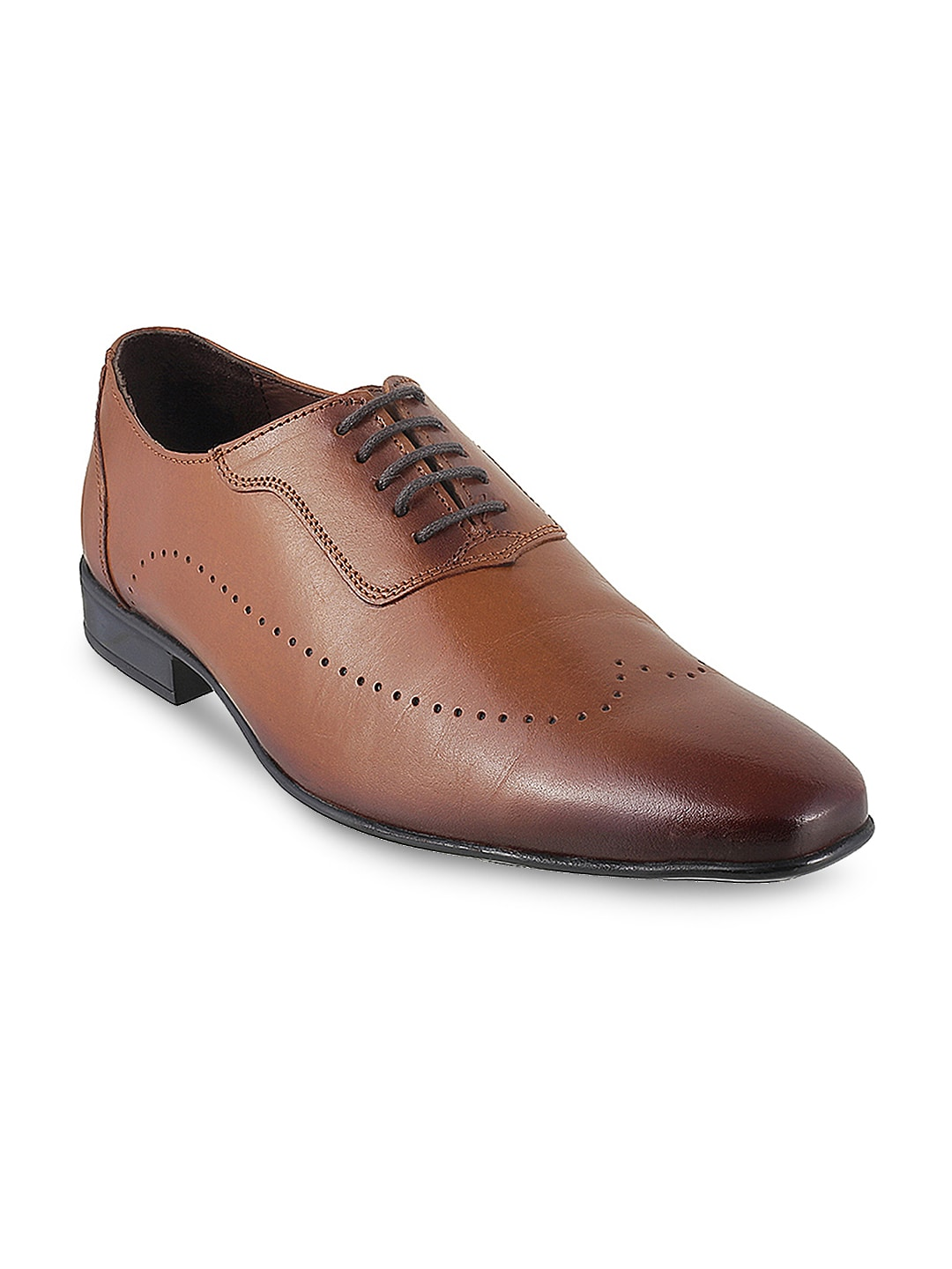 Metro Men Tan Solid Leather Derbys image