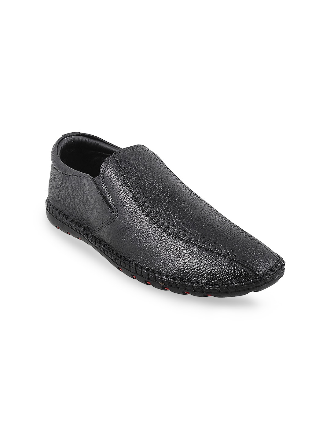 Metro Men Black Textured Leather Slip-Ons image