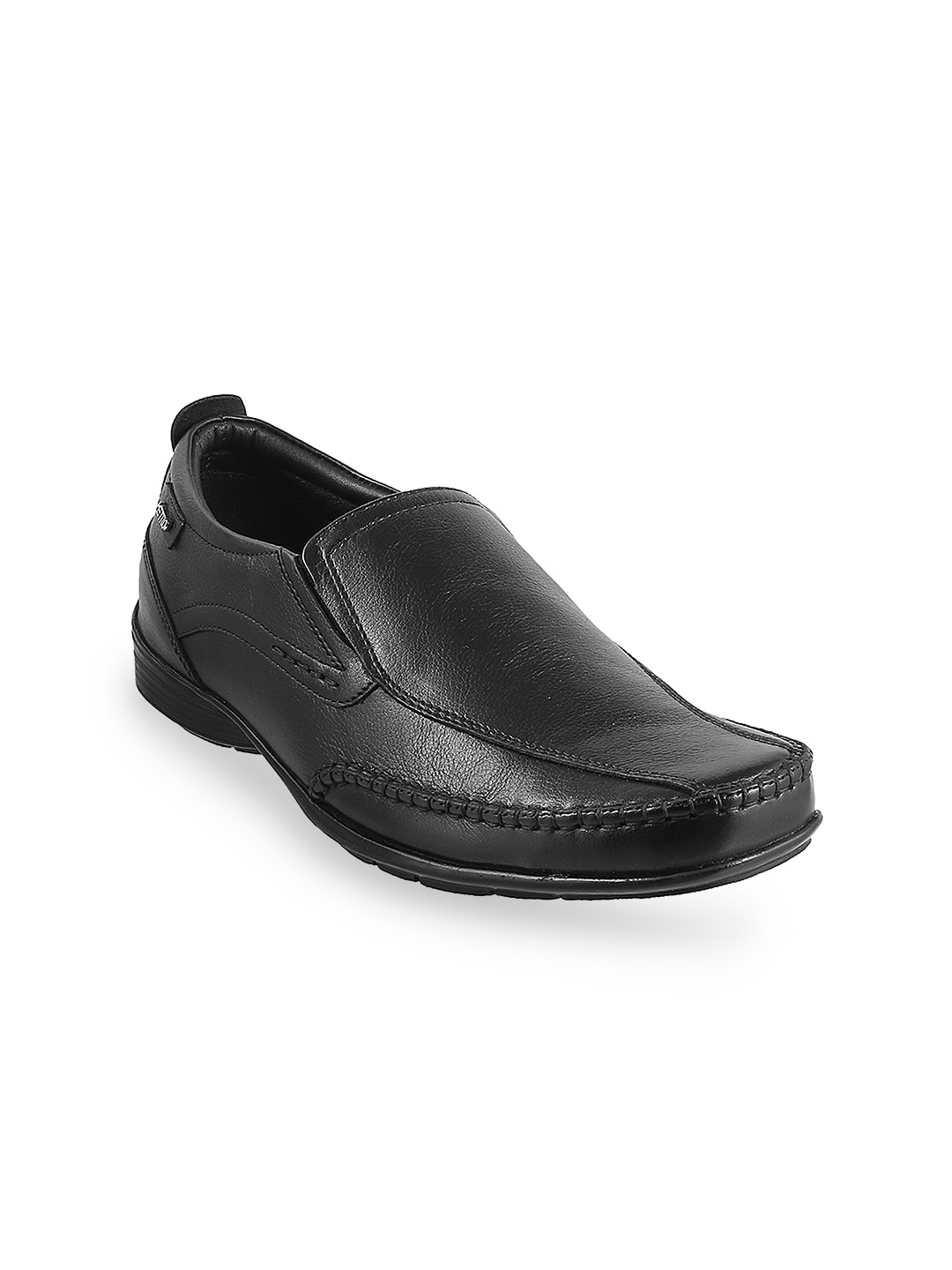 Metro Men Black Leather Semiformal Shoes image