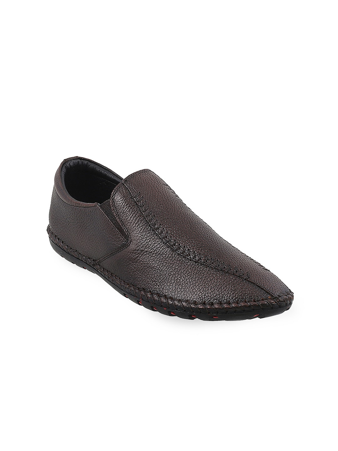 Metro Men Brown Textured Leather Slip-Ons image
