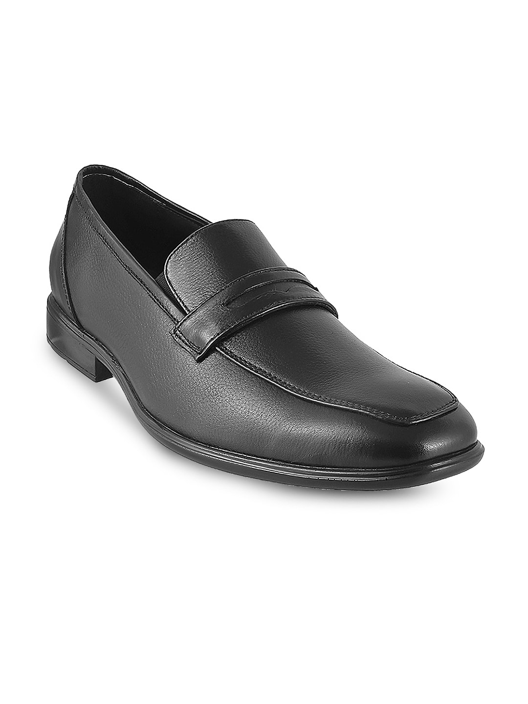 Metro Men Black Solid Leather Slip-Ons image