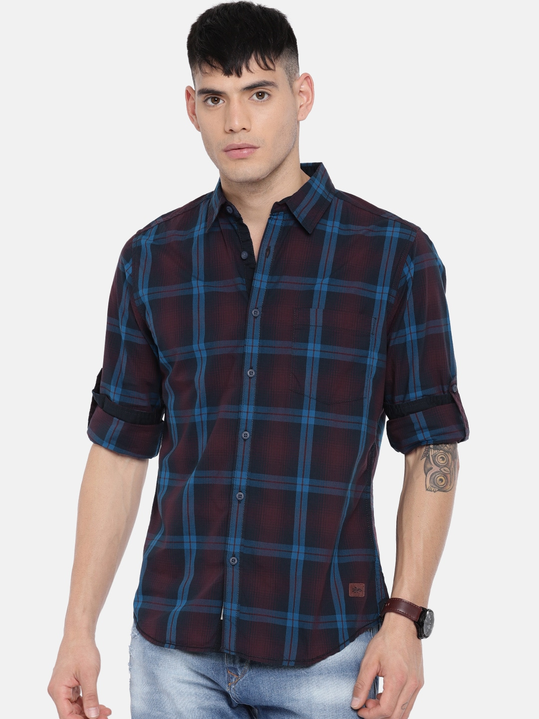 Buy Roadster Blue & Maroon Regular Fit Checked Men's Casual Shirt At Best Price