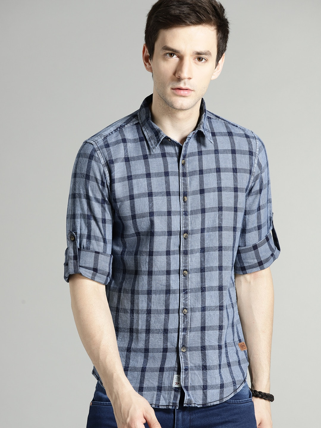 Buy Roadster Blue Regular Fit Checked Men's Casual Shirt At Best Price