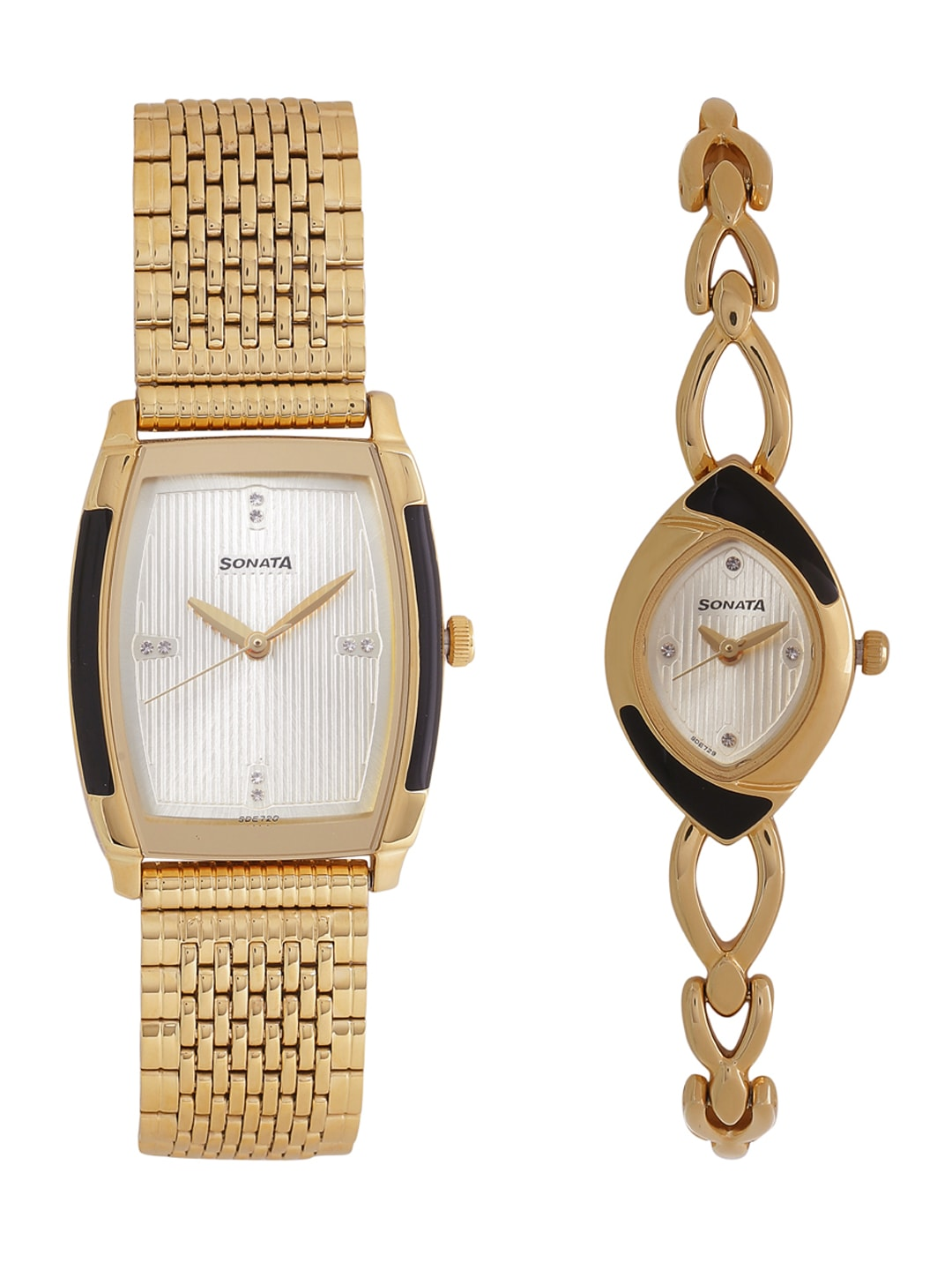Sonata Men Silver-Toned Set of 2 His & Her Analogue Watch NK70808069YM01 image
