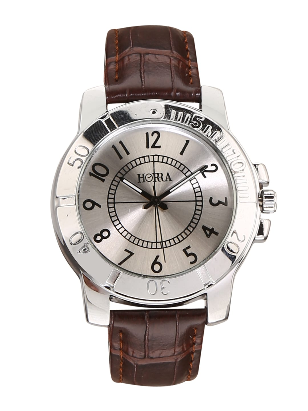 HORRA Men Silver-Toned & Brown Analogue Watch image