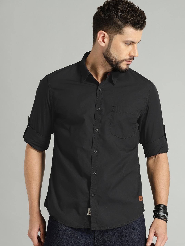 Buy Roadster Black Regular Fit Solid Men's Casual Shirt At Best Price