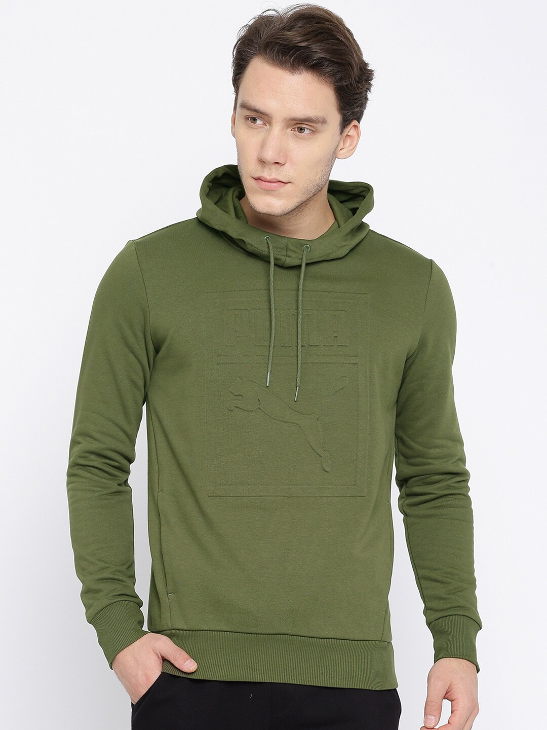 Buy Puma Olive Archive Embossed Logo Hoody Men's Sweatshirt At Best Price