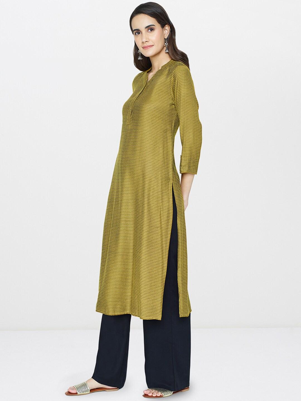 Global Desi Women Yellow & Olive Green Woven Design Straight Kurta