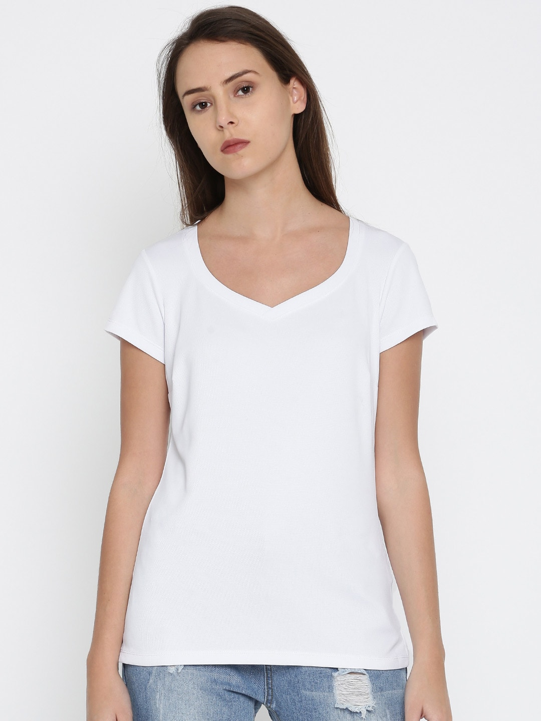 Columbia Women White Solid V-Neck T-shirt image