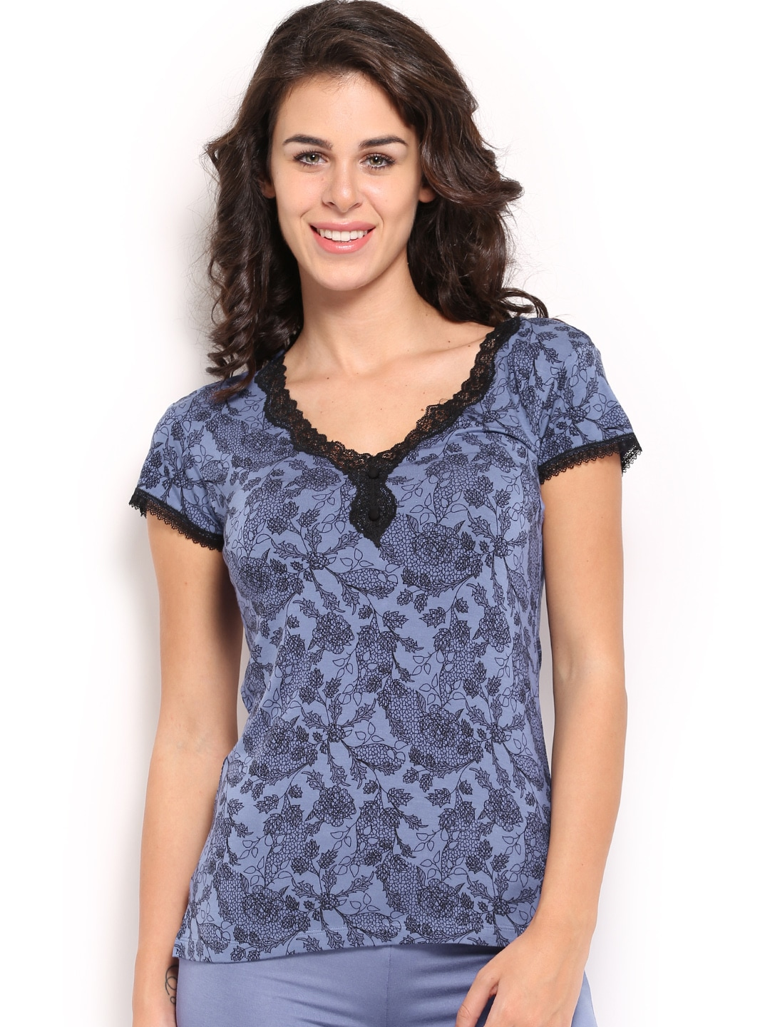 Amante Women Blue Printed Lounge Top SGLC01 image