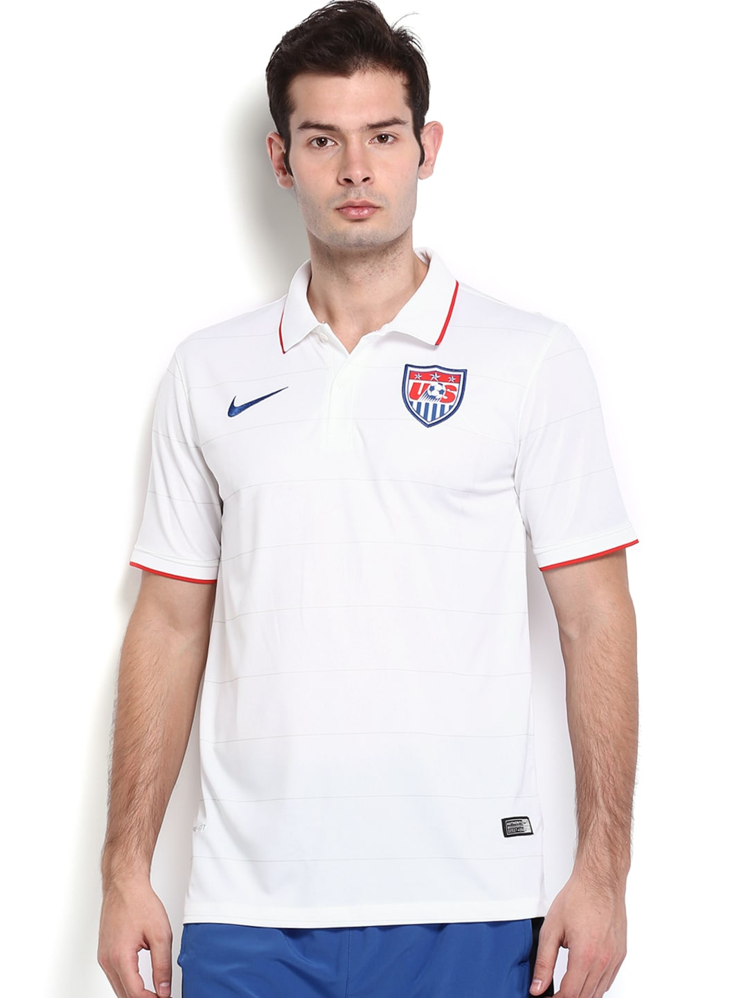 dd4554a8e1c Nike 578024-105 Men White Striped Home Us Soccer Jersey Polo T Shirt- Price  in India