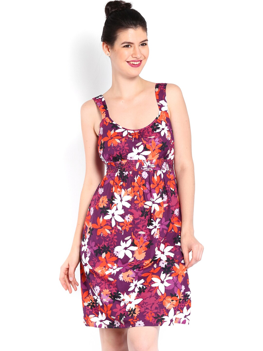 ac991099a77ea ... knee length dress 92bf6 4c47a; italy casual collection db0570106884a by  debenhams purple orange floral print fit flare dress price in india