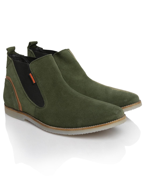 Weinbrenner 8417031 By Bata Men Olive Green Chelsea Boots