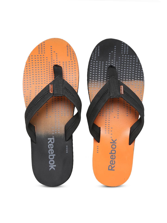 39b76a5ca79278 Reebok v62299 Men Black And Orange Possession Iv Lp Printed Flip Flops-  Price in India