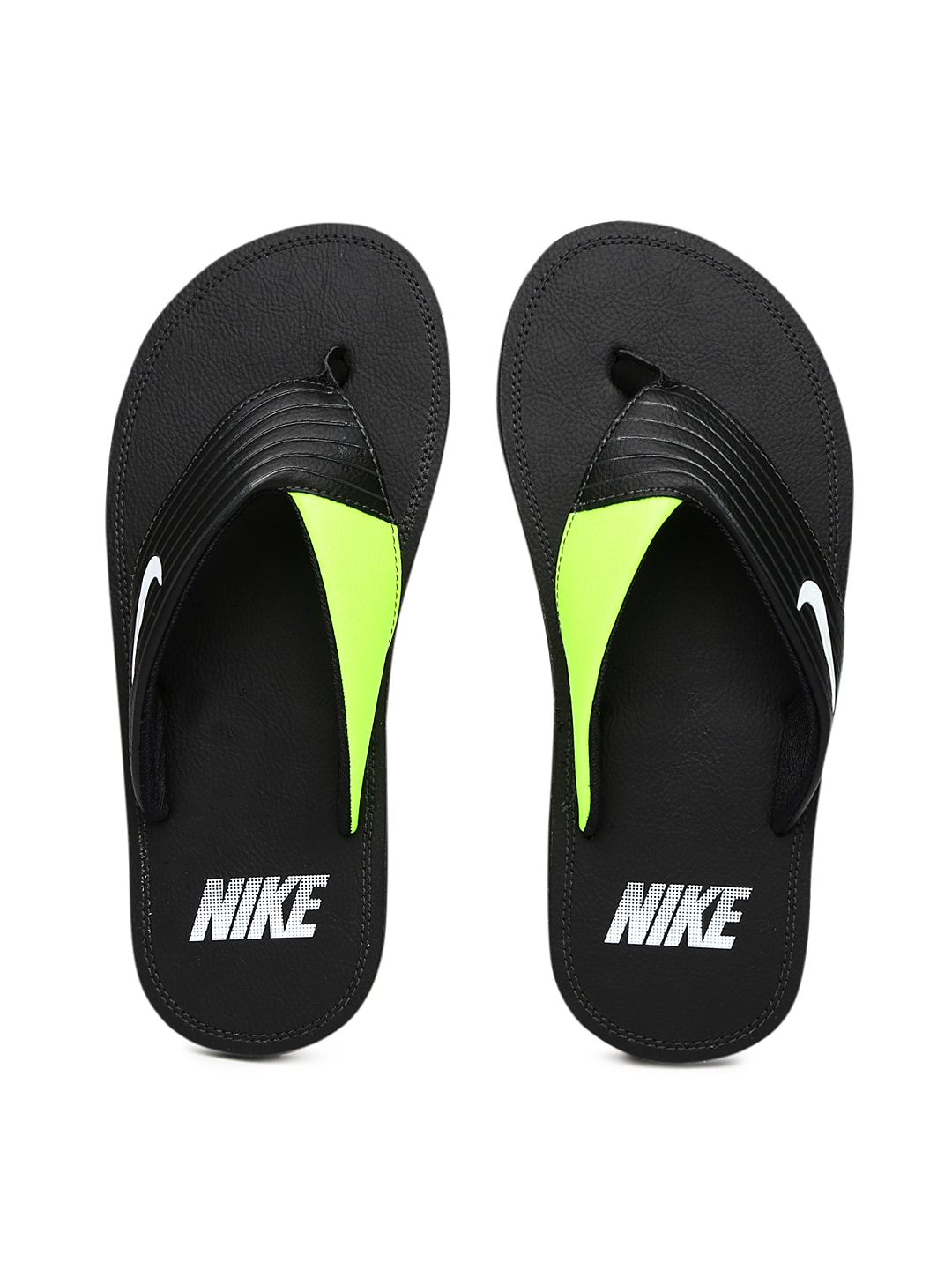 fb3fe2aa3295d7 Nike 636165-018 Men Black And Neon Green Chroma Thong Iii Flip Flops- Price  in India