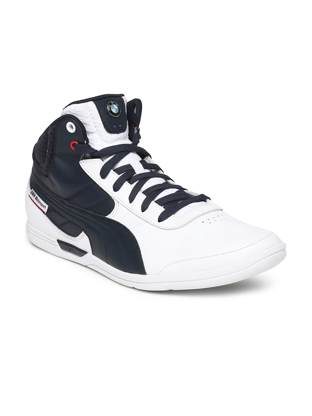 20f1044498bd Puma 30526302 Men White And Navy Bmw Ms Mch Mid Leather Casual Shoes- Price  in India