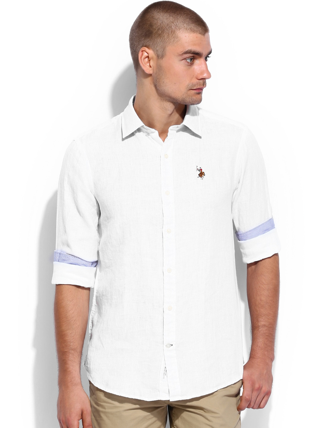 2e3f1274b Us polo assn ussh3607 White Linen Tailored Fit Smart Casual Shirt- Price in  India
