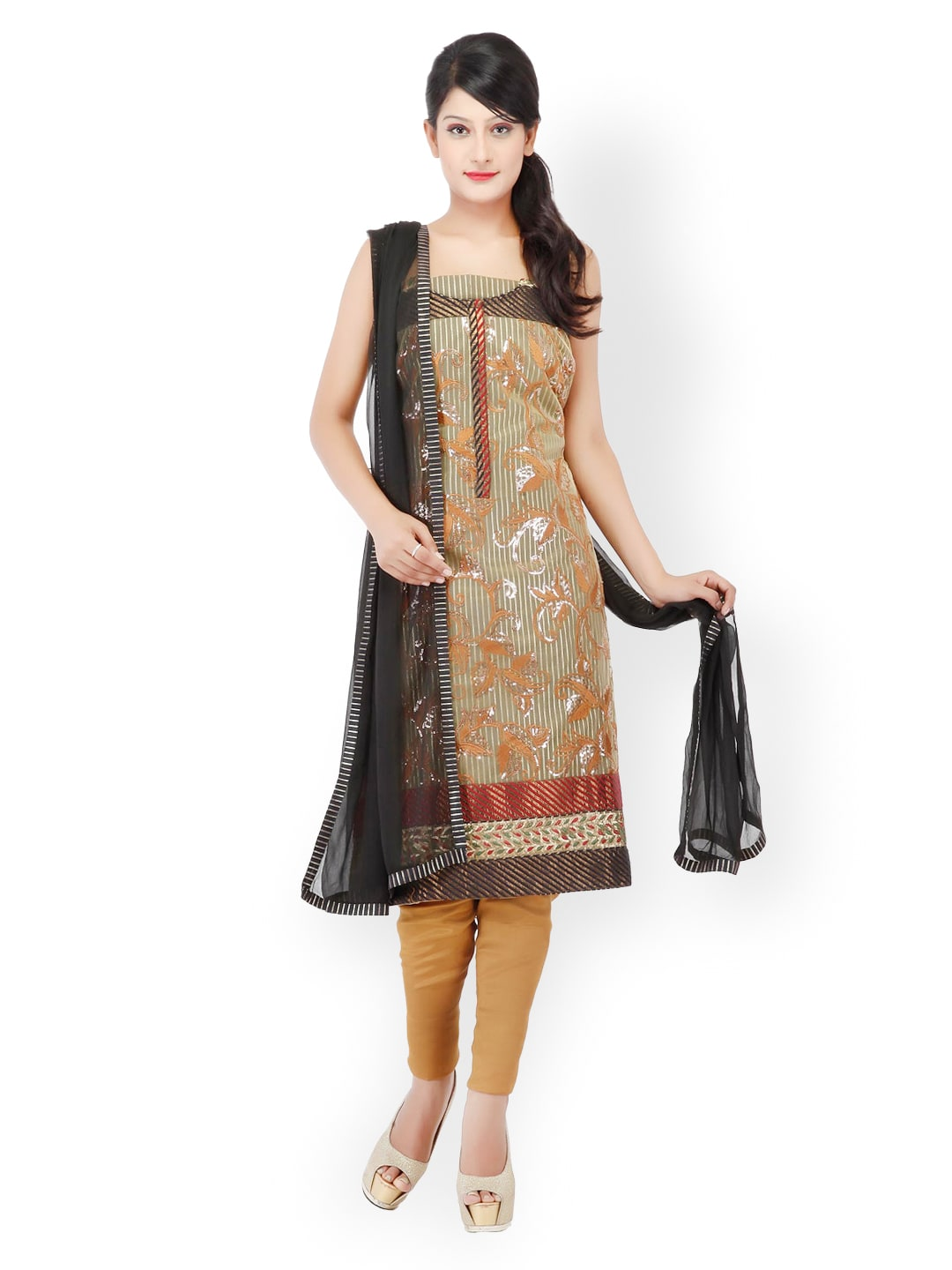 Chhabra 555 Green & Brown Unstitched Dress Material image