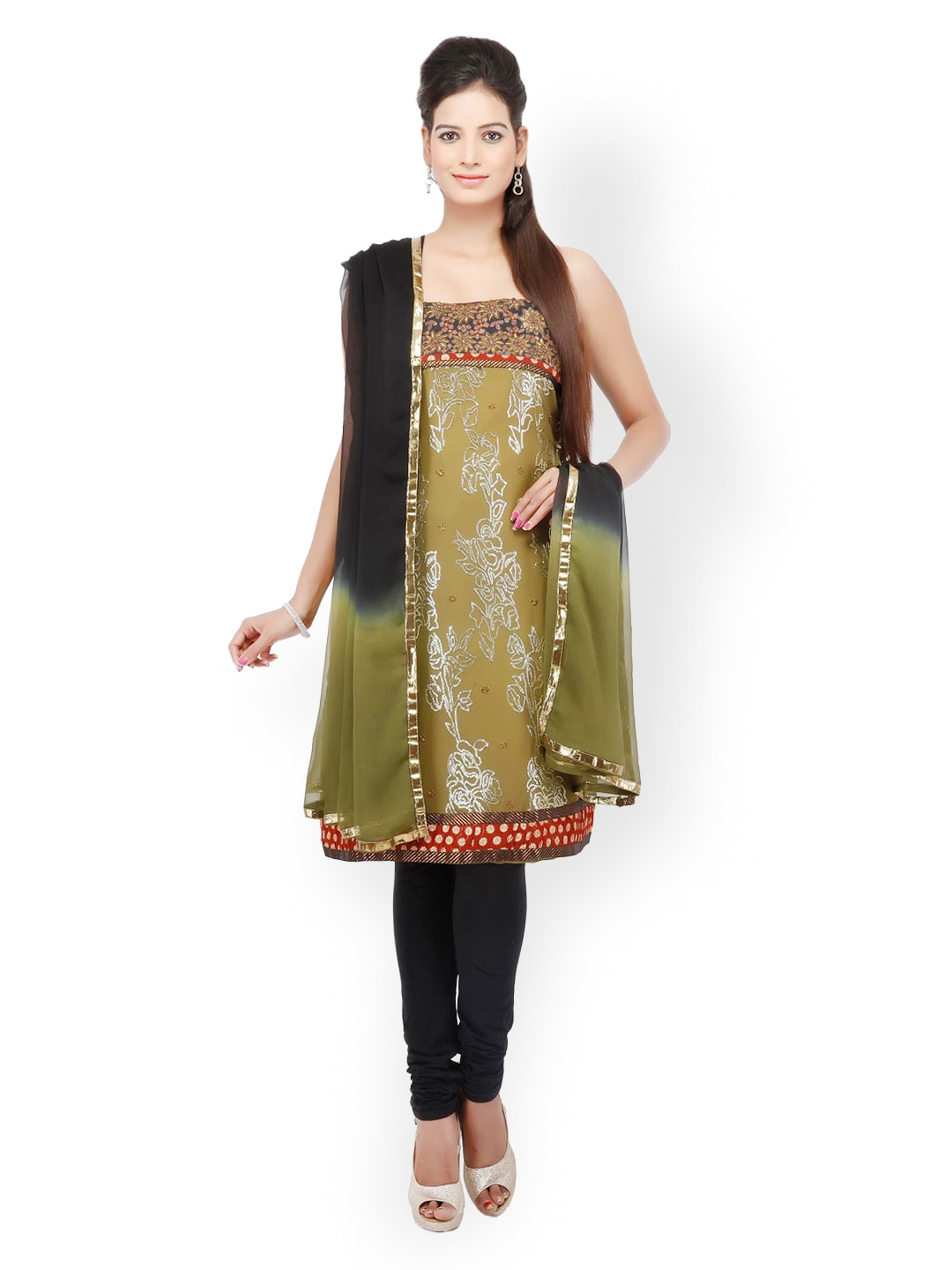 Chhabra 555 Green & Black Georgette Unstitched Dress Material image