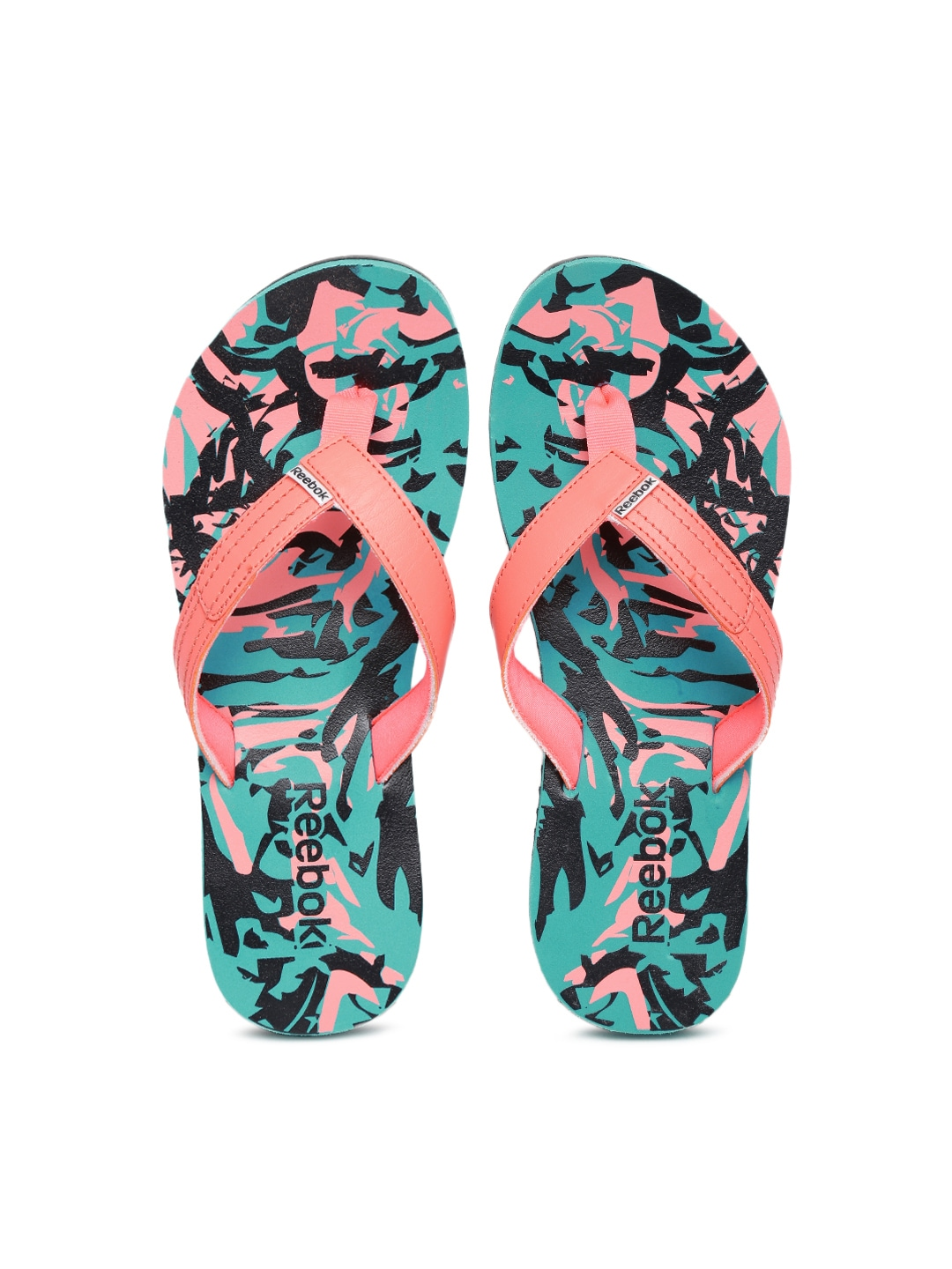 c2286ef7d109 Reebok v62293 Women Coral Pink And Green Marble Lp Flip Flops- Price in  India