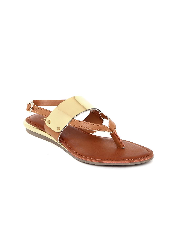 Wet Blue Women Tan Brown & Gold-Toned Sandals image