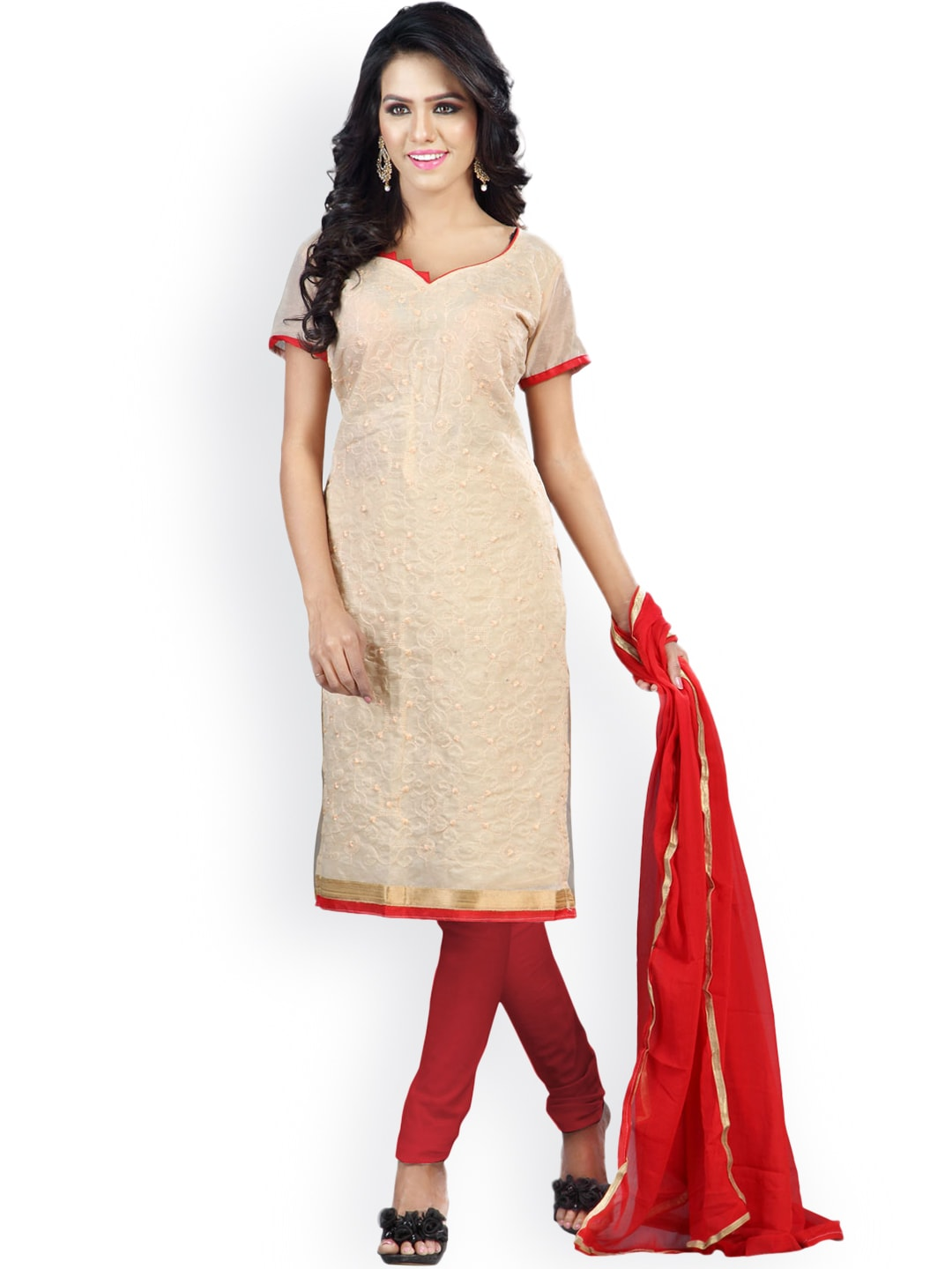 Florence Beige & Red Embroidered Chanderi Cotton Semi-Stitched Dress Material image