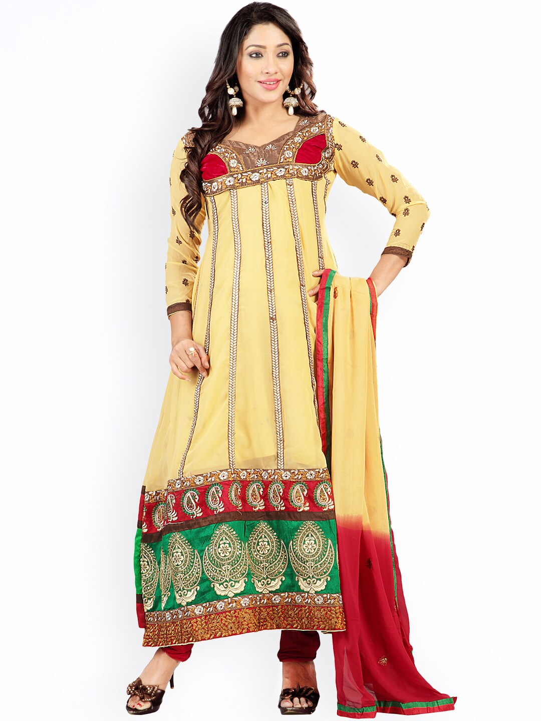 Florence Mustard Yellow & Red Embroidered Chiffon Semi-Stitched Dress Material image