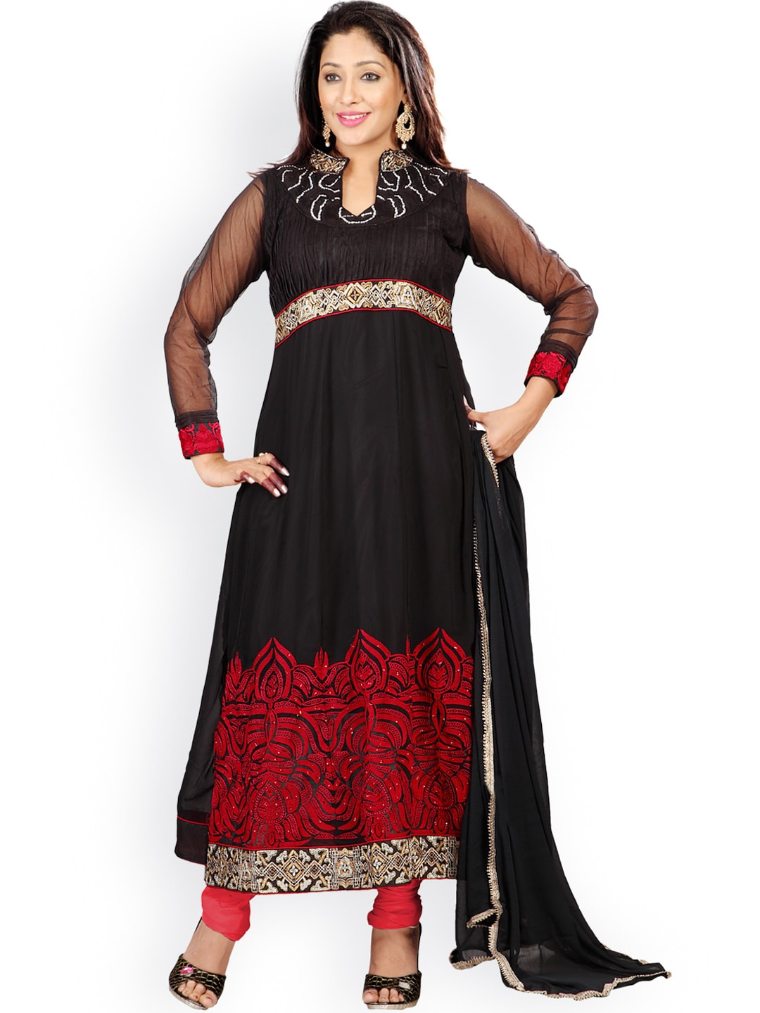 Florence Black & Red Georgette Semi-Stitched Dress Material image