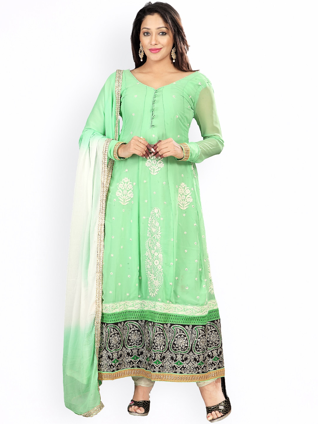 Florence Green & Off-White Embroidered Georgette Semi-Stitched Anarkali Dress Material image