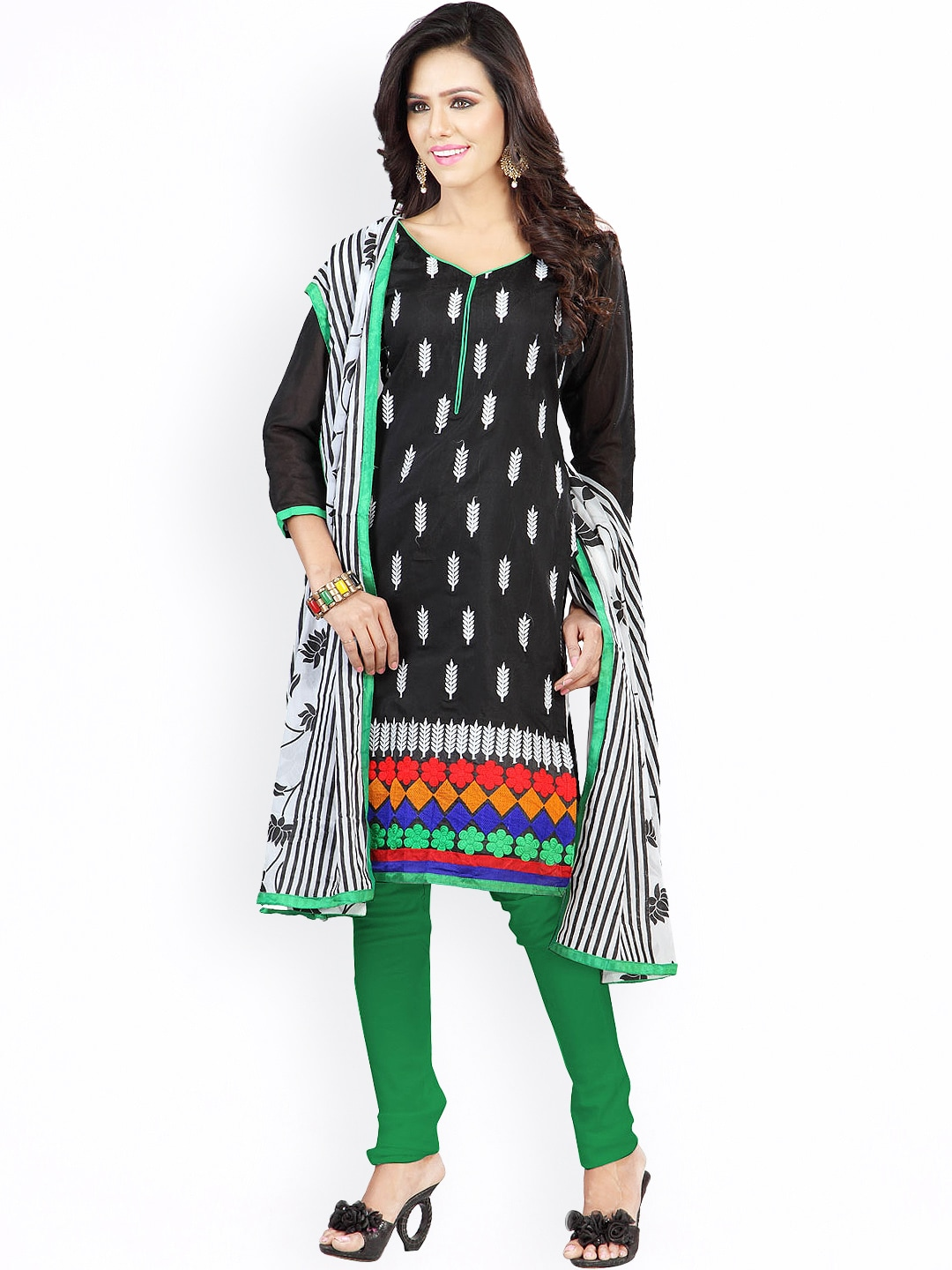 Florence Black & Green Embroidered Chanderi Cotton Semi-Stitched Dress Material image
