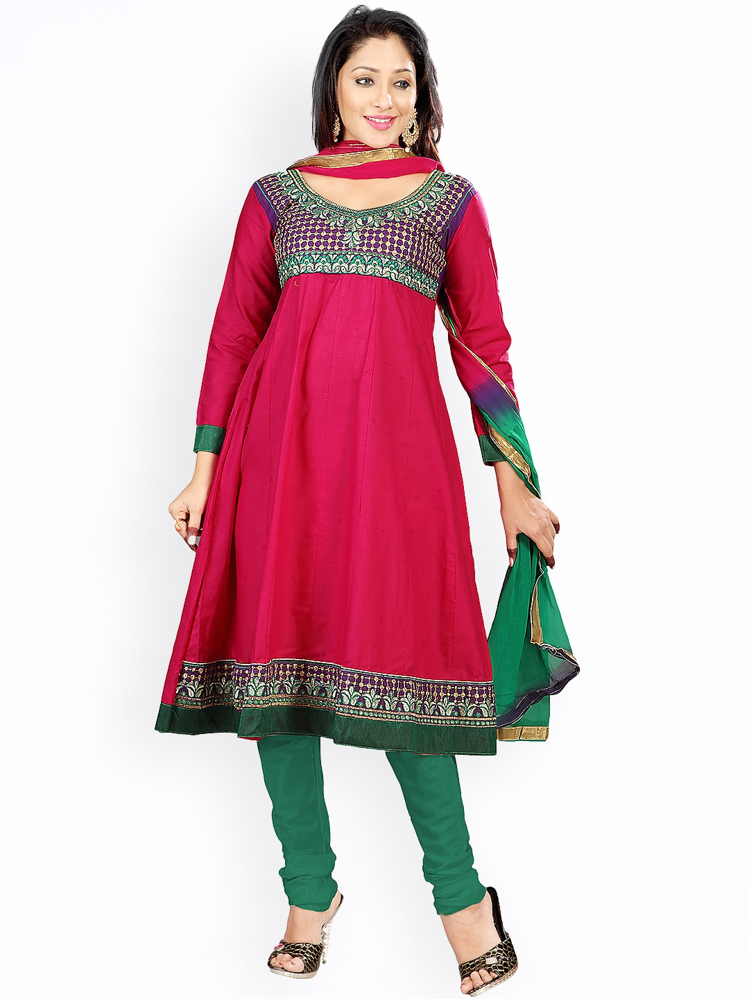 Florence Pink & Green Embroidered Cotton Semi-Stitched Anarkali Dress Material image