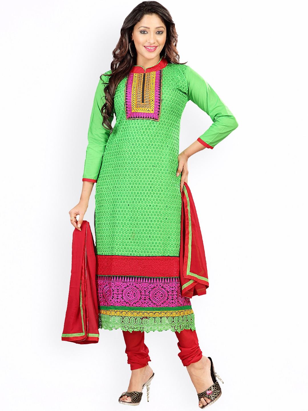 Florence Green & Red Embroidered Georgette Semi-Stitched Dress Material image