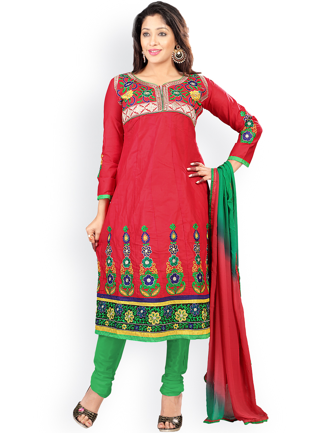 Florence Red & Green Embroidered Cotton Semi-Stitched Dress Material image