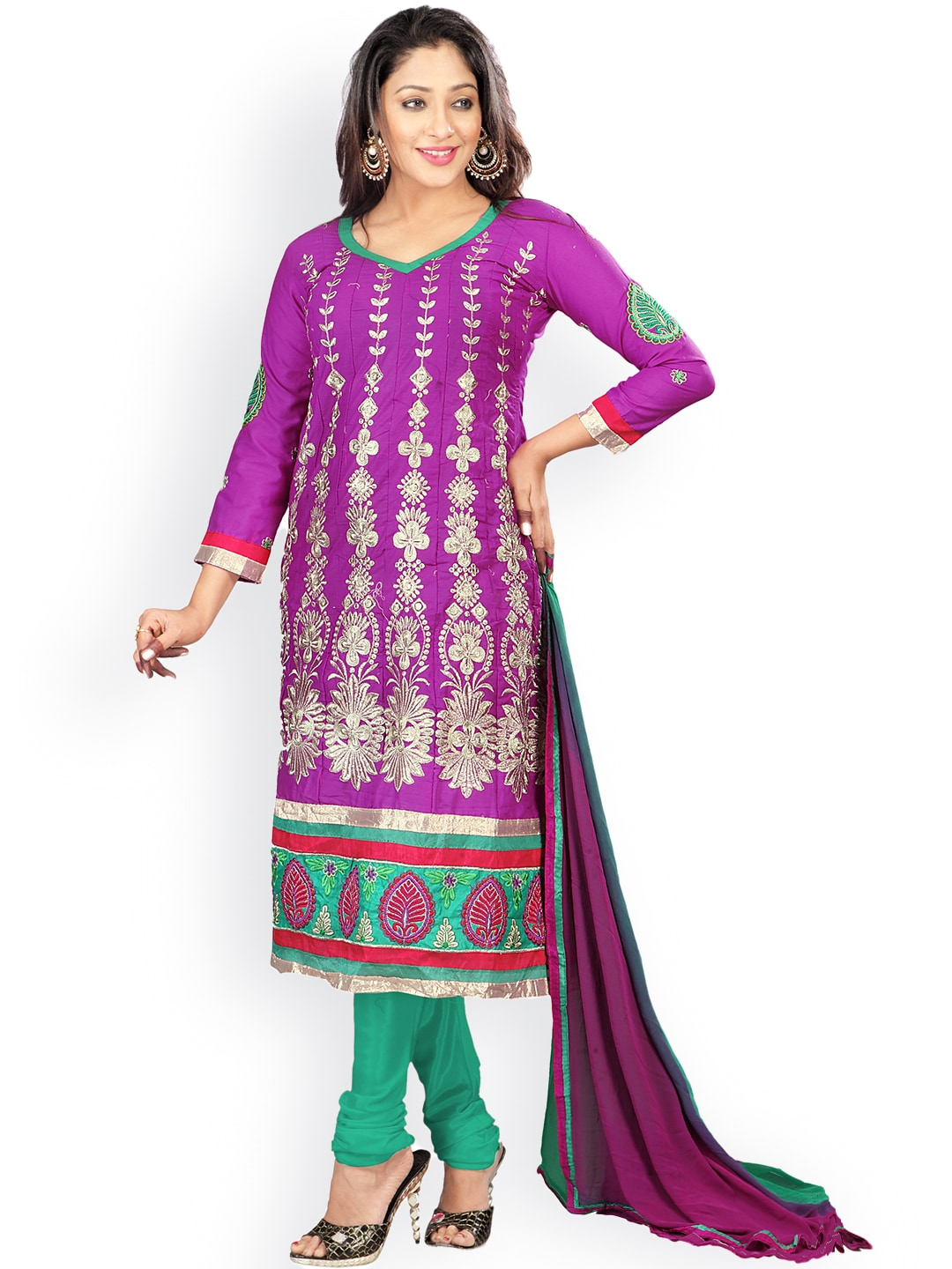Florence Purple & Green Embroidered Cotton Semi-Stitched Dress Material image