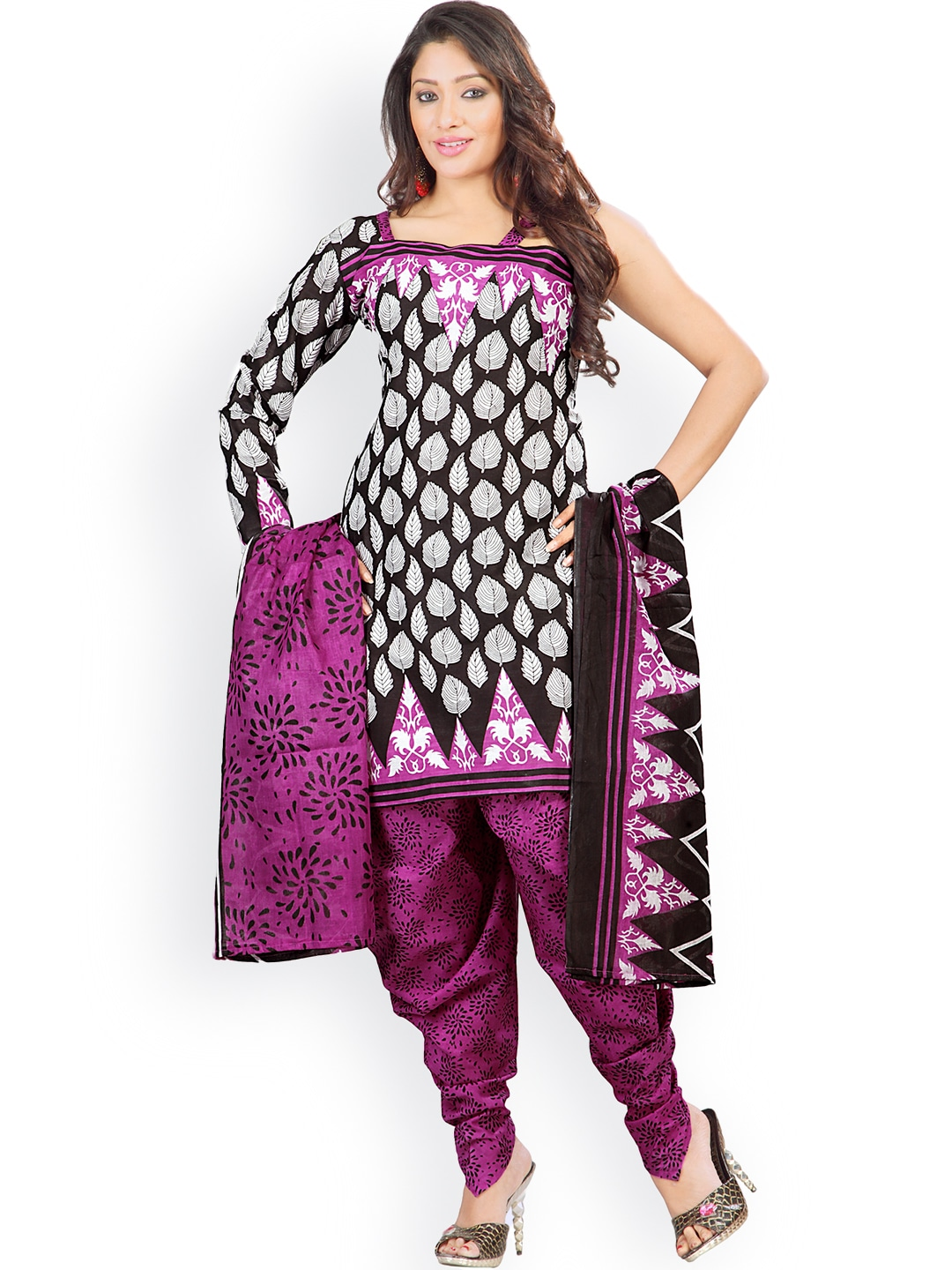 Florence Black & Purple Printed Cotton Unstitched Dress Material image